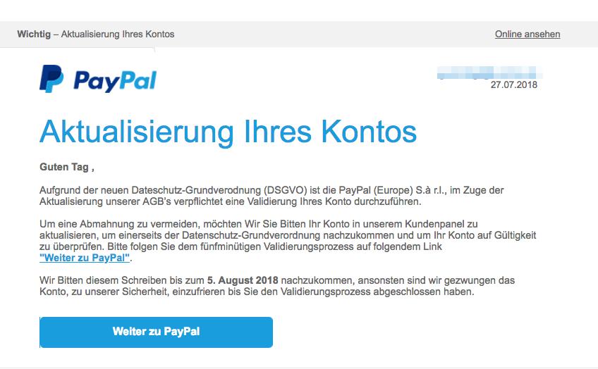 2018-07-30 PayPal Spam Wichtig - Aktualisierung Ihres Kontos DSGVO