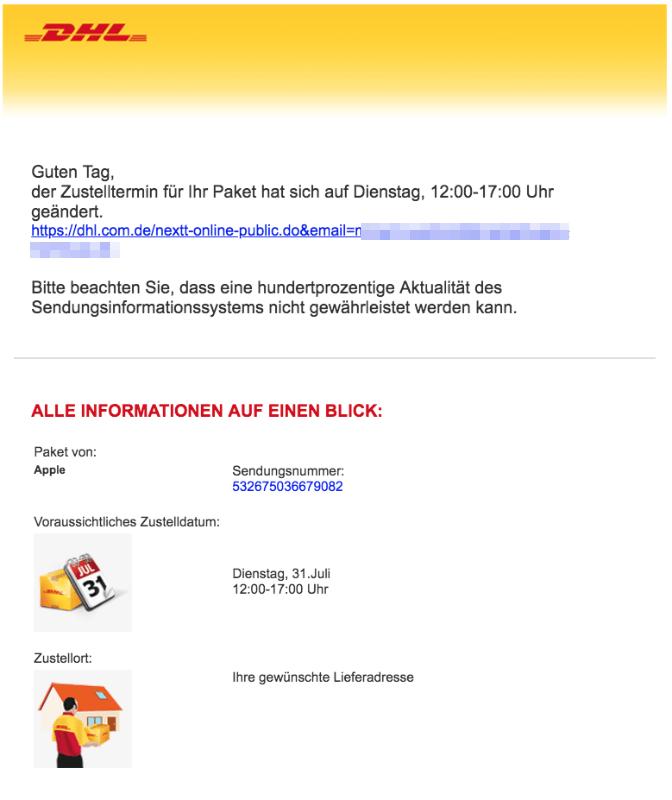 2018-07-31 DHL Virus Mail Ihr DHL Paket kommt am im DHL-Design