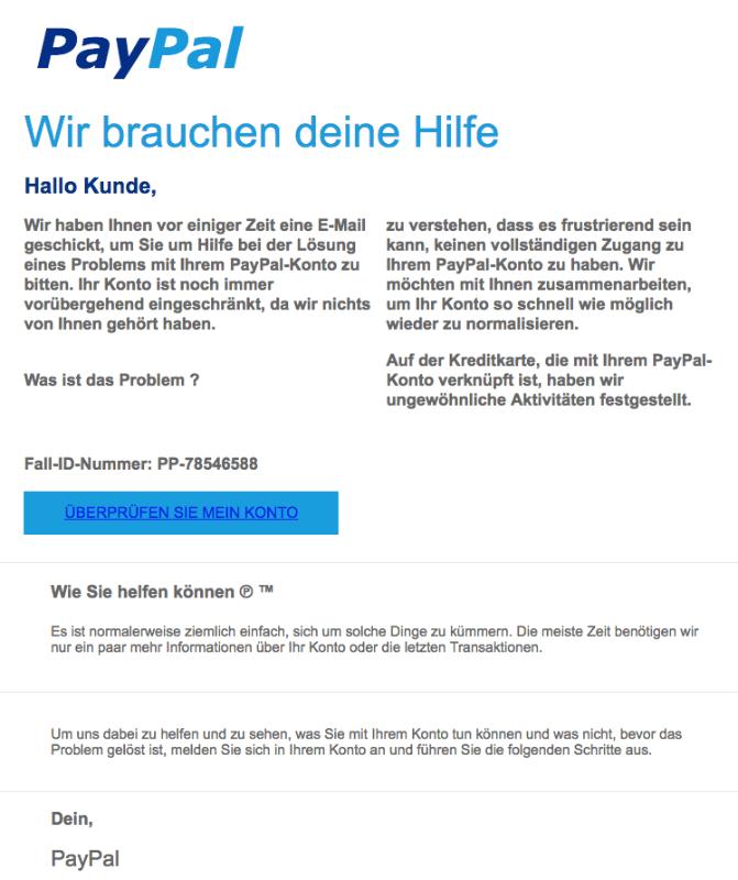 2018-07-31 PayPal Spam Mail WIr brauchen Deine Hilfe