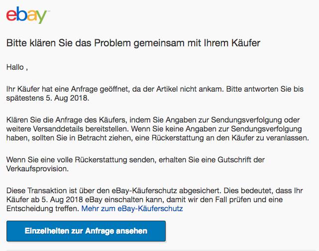 2018-08-01 ebay Spam Mail Ihr Kaeufer hat eine Anfrage geoeffnet