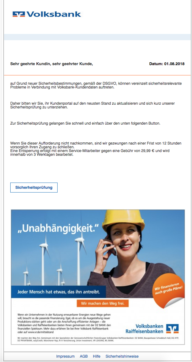2018-08-02 Volksbank Phishing