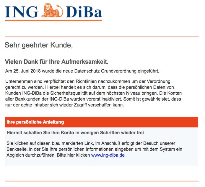 2018-08-03 Ing-Diba Spam Mail Wichtige informationen zu Ihrem ING-DiBa konto