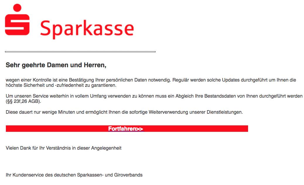 2018-08-03 Sparkasse Spam Mail Ihr Sparkassenkonto – wichtige Nachricht