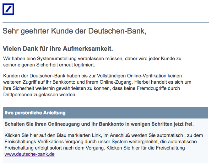 2018-08-07 Deutsche Bank Spam Mail Konto gesperrt