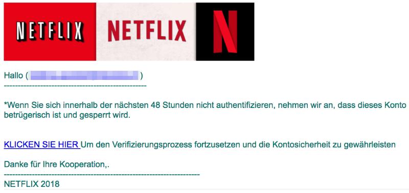 2018-08-07 Netflix Phishing Mail Hinweis- Ihr Netflix-Konto hat ein Problem