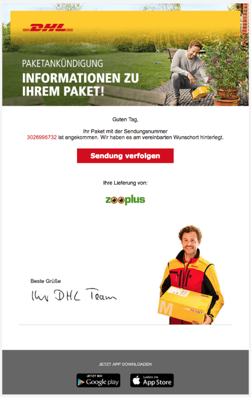 neue phishing e mail im namen von dhl paket im umlauf. Black Bedroom Furniture Sets. Home Design Ideas