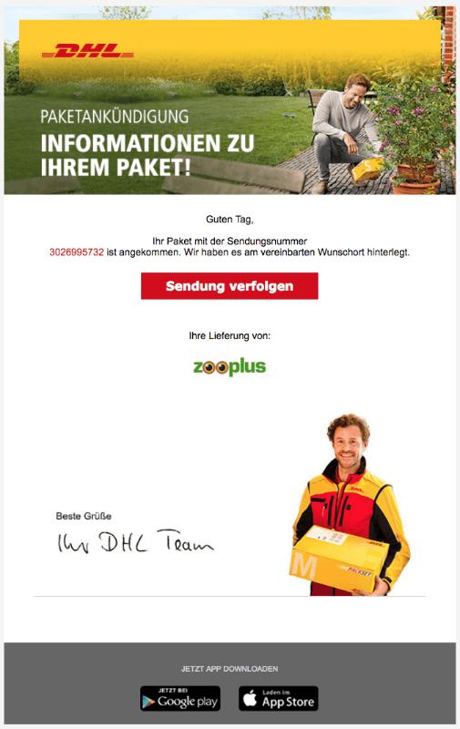 2018-08-09 DHL Spam Mail Ihr DHL Paket liegt am vereinbarten Ablageort