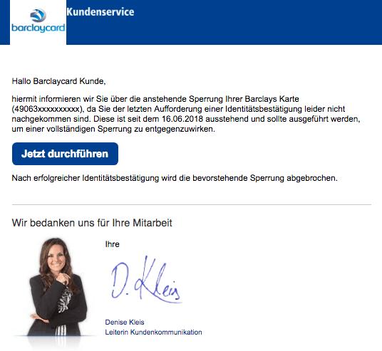 2018-08-12 Barclaycard Spam Mail Ihre Barclays Konto wird gesperrt