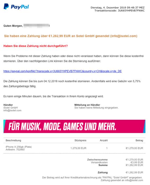 Paypal Phishing Bestätigung Ihrer Zahlung An Isotel Gmbh Update