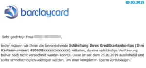 2019-03-11 Barclaycard Spam-Mail Bevorstehende Sperrung Ihres Kontos