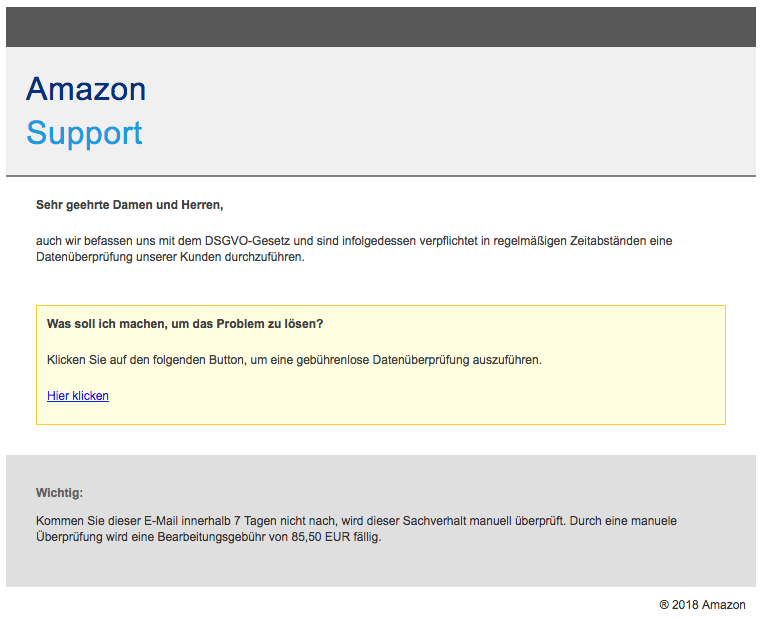 Amazon Spam Mail Ihr Kundenkonto