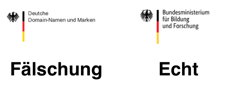 Vergleich Logo Original Bund Deutsche Domain-Namen und Marken
