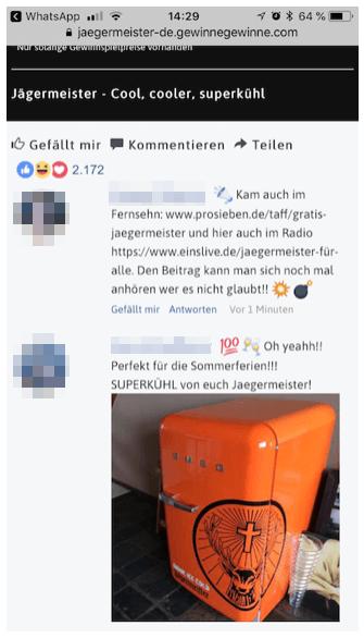 Jägermeister-Gewinnspiel auf WhatsApp: Tappen Sie nicht in diese Falle