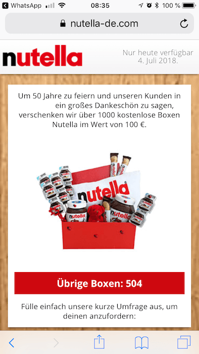 WhatsApp Nutella Box Kettenbrief1
