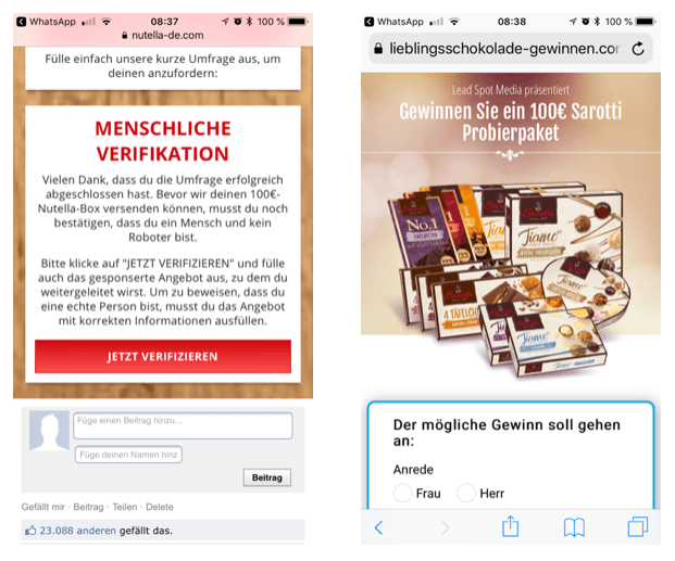 WhatsApp Nutella Box Kettenbrief