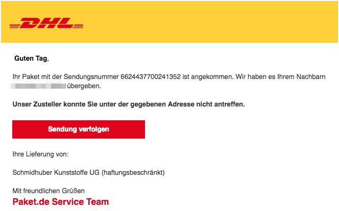 2018-08-09 DHL Paket Spam Mail Ihr DHL Paket liegt bei Ihrem Nachbarn