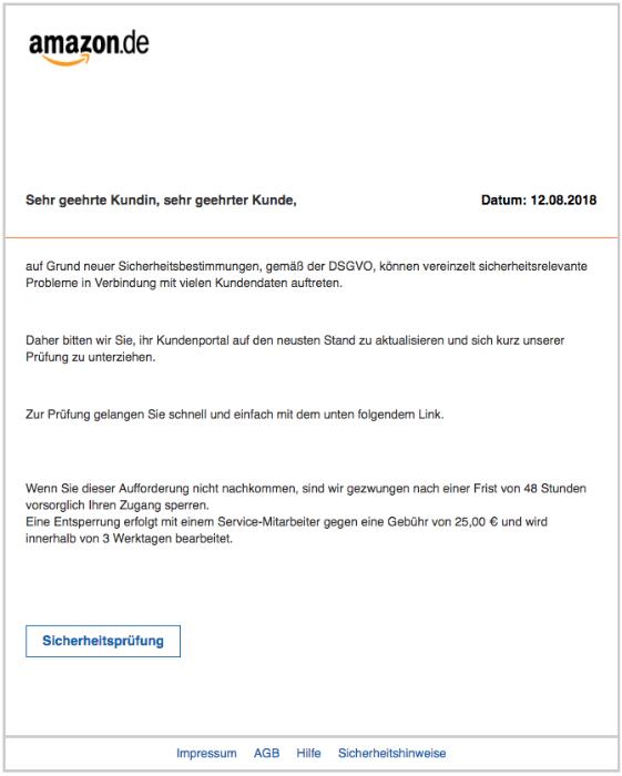 2018-08-13 Amazon Spam Mail Kundenservice Amazon - Massnahme erforderlich