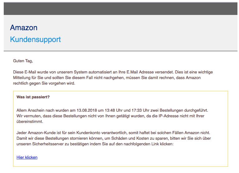 2018-08-15 Amazon Spam Mail Ihr Kundenkonto ist gesperrt