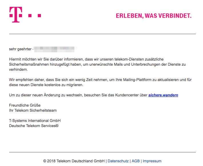 2018-08-15 Deutsche Telekom Spam Mail Helfen Sie uns Ihr E-Mail-Konto zu schützen von Telekom