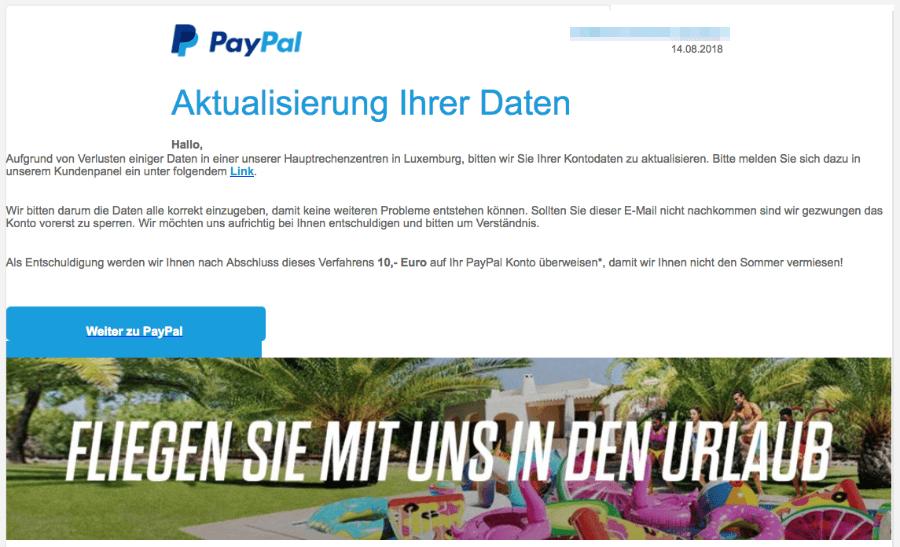 paypal konto daten