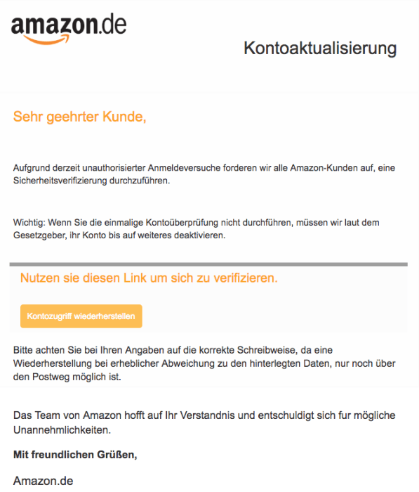 2018-08-17 Amazon Spam Mail Hinweis bzgl lhres Kundenkontos