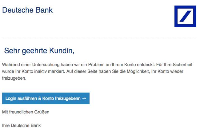 2018-08-17 Deutsche Bank Phishing Mail Wichtig Sie haben eine neue Nachricht