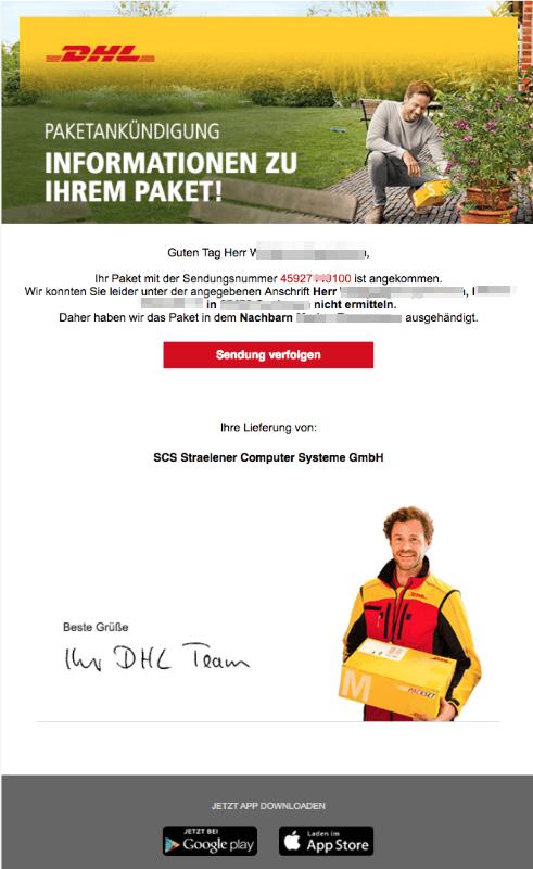 2018-08-20 DHL Paket Spam Mail Ihr Paket liegt beim Nachbarn