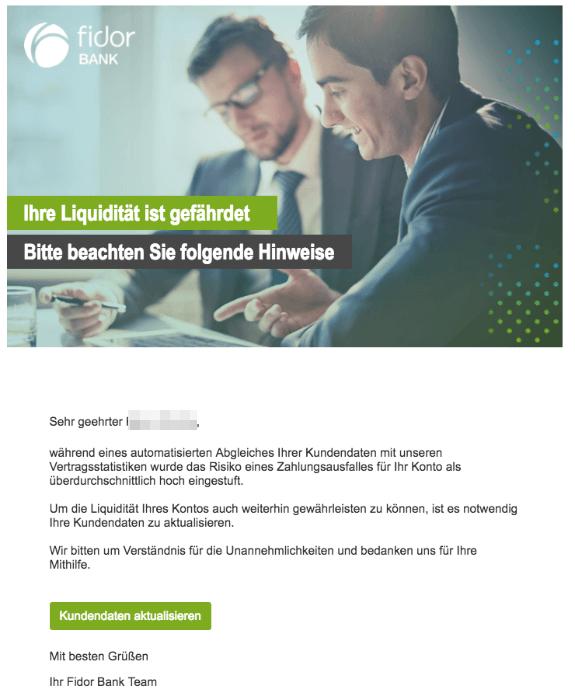 2018-08-22 Fidor Bank Spam-Mail Ihre Liquiditaet ist gefaehrdet