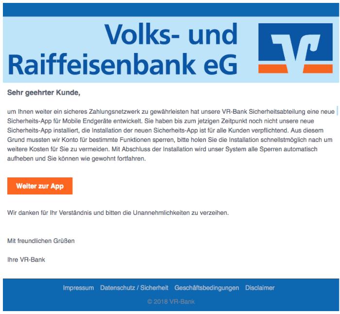 2018-08-22 Volksbank Raiffeisenbank Spam Mail Wichtige Mitteilung