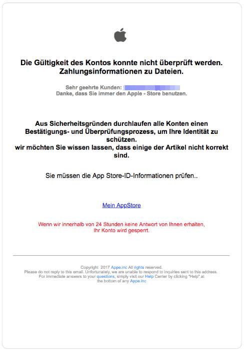 2018-08-23 Apple Spam Phishing Mail Apple- Die Gültigkeit des Kontos konnte nicht überprüft werden
