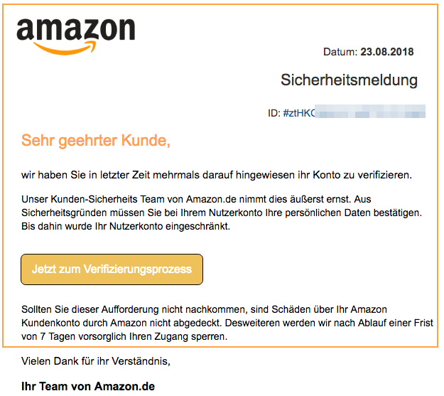 Amazon Identitätskontrolle