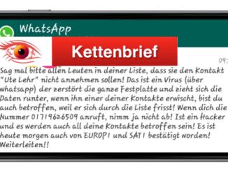 2018-08-23 WhatsApp Kettenbrief zu Ute Lehr ist Fake