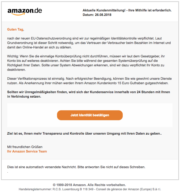 2018-08-27 Amazon Spam Mail Account Sperrung