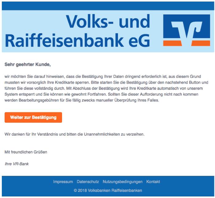 2018-08-28 Volksbank Spam Mail Kundenmitteilung