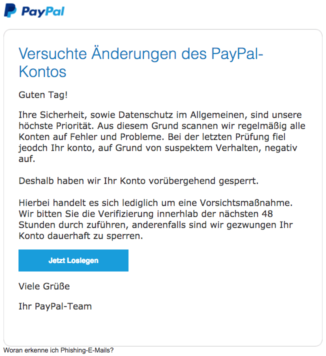 2018-08-29 PayPal Spam Mail Versuchte Änderungen des PayPal-Kontos