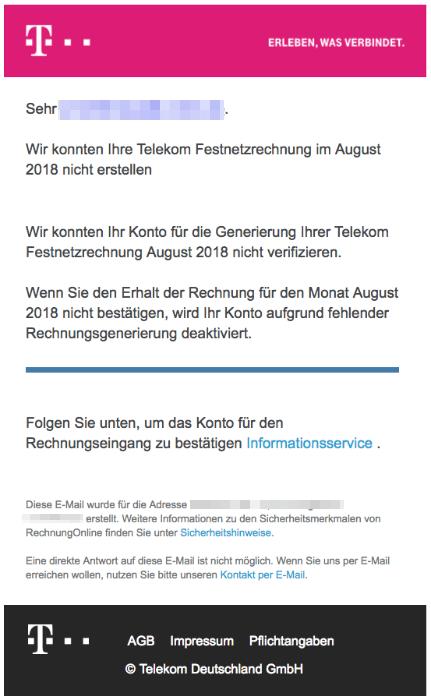 2018-08-30 Telekom Spam Mail Warnung für August Rechnung