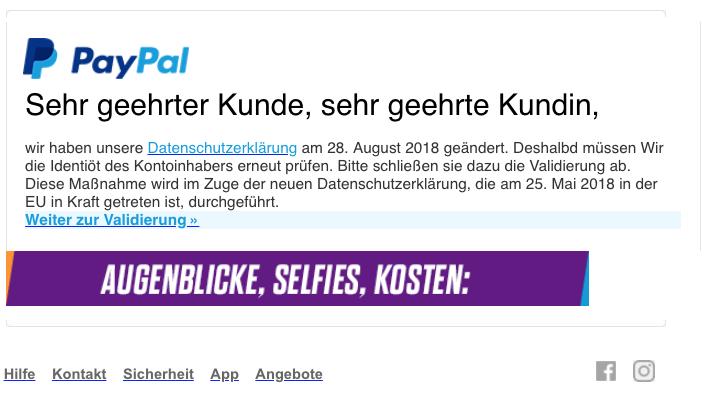 2018-08-31 PayPal Spam Mail Datenschutz-Update - Erneute Verifizierung erfoderlich