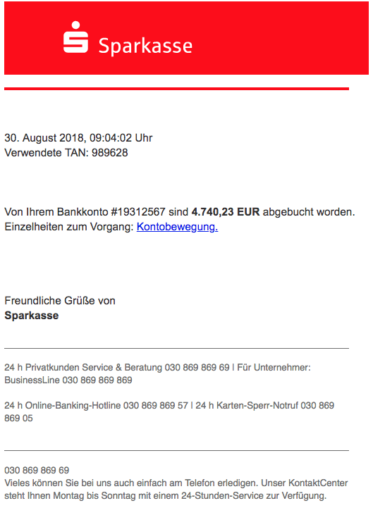 2018-08-31 Sparkasse Phishing Zahlungsbestaetigung Artikelfreigabe