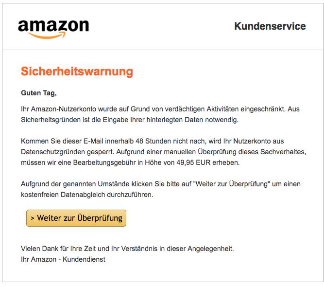 2018-09-03 Amazon Spam Mail Kundenkonto eingeschraenkt