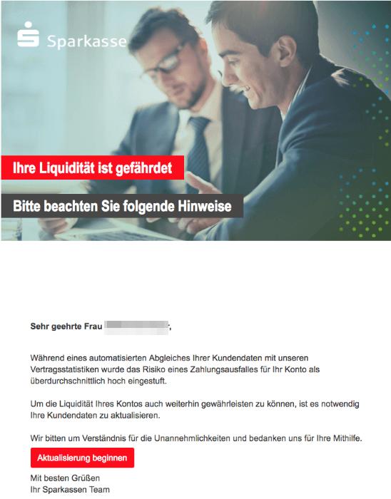 2018-09-03 Sparkasse Spam Mail Phishing Ihre Liquidität ist gefährdet