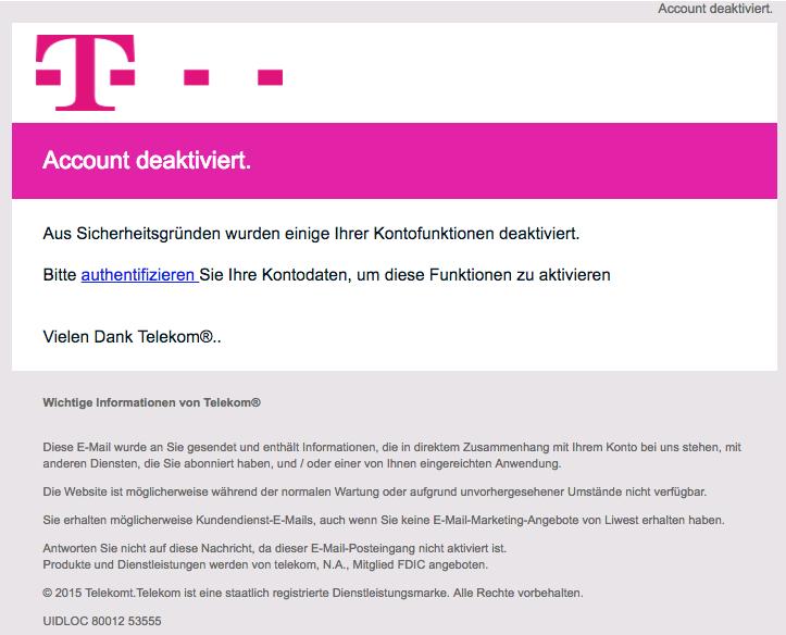 2018-09-03 Telekom Spam Mail Handlung erforderlich