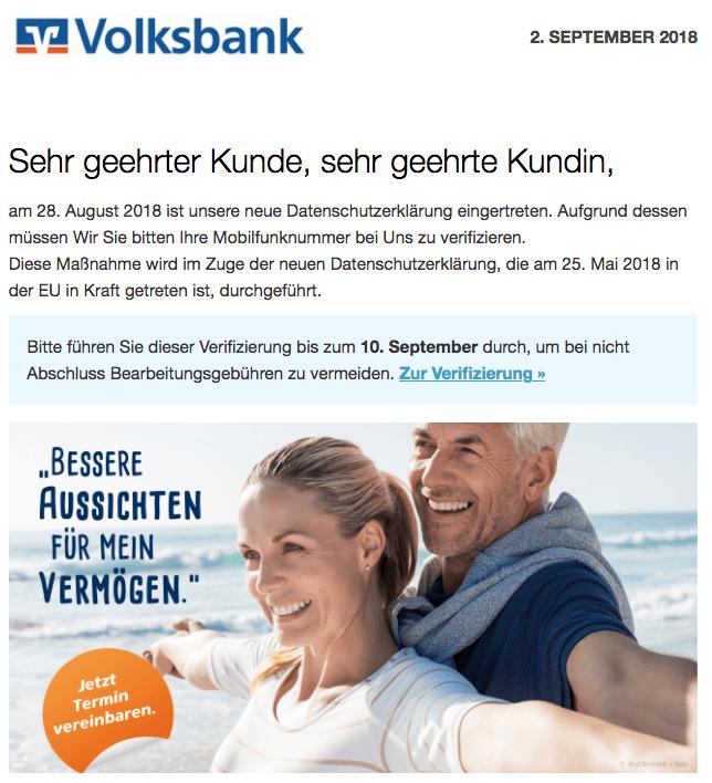 2018-09-03 Volksbank Spam Datenschutz Verifizierung Datenschutz-Update - Verifizierung Ihrer Mobilfunknummer erforderlich