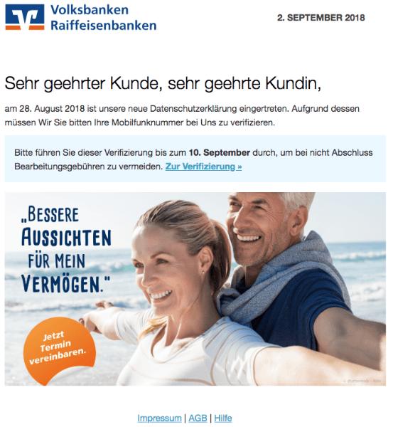 2018-09-03 Volksbank Spam Datenschutz Verifizierung Konto Prüfung