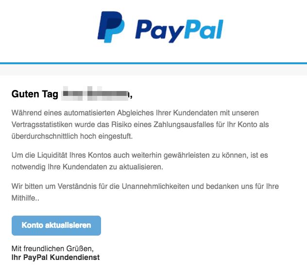 2018-09-10 Paypal Fake Mail Ihre Liquiditaet ist gefaehrdet