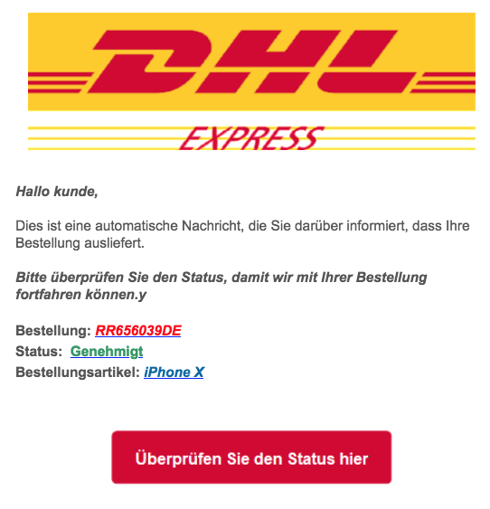 2018-09-11 DHL Spam Mail Letzte Mahnung iPhone X