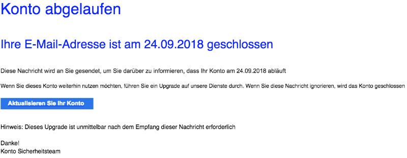 2018-09-21 GMX Spam-Mail Ihre E-Mail-Adresse ist am geschlossen