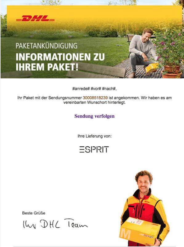 2018-09-24 DHL Paket Spam Mail Phishing Ihr DHL Paket wurde am Wunschort zugestellt
