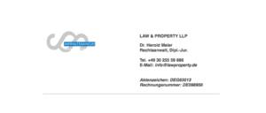 2018-09-26 Abmahnung Ohrheberrechtsverletzung Fake LAW & PROPERTY LLP