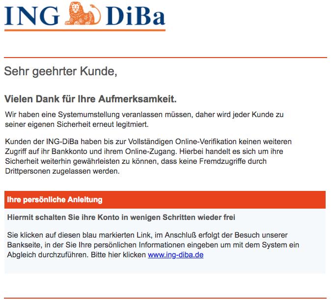 2018-10-11 Ing-Diba Spam Mail Wichtige informationen zu Ihrem ING-DiBa konto