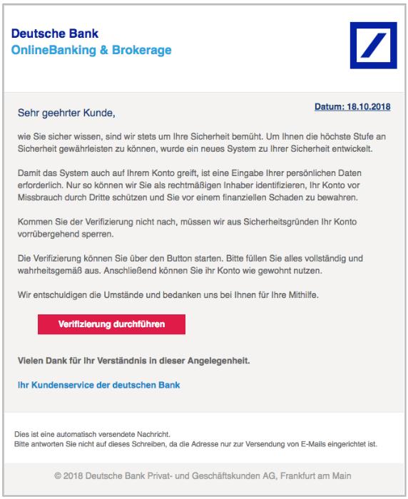 2018-10-19 Deutsche Bank Spam Mail Ihre Mithilfe ist erforderlich